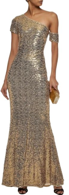 Item - Gold One Shoulder Asymmetrical Sleeve Sequin Beaded Sparkle Sheath Long Formal Dress Size 2 (XS)