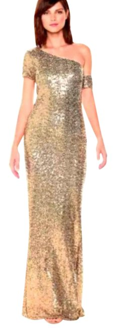 Item - Gold Asymmetrical Sleeve Sequin Beaded Sparkle Sheath Long Formal Dress Size 10 (M)