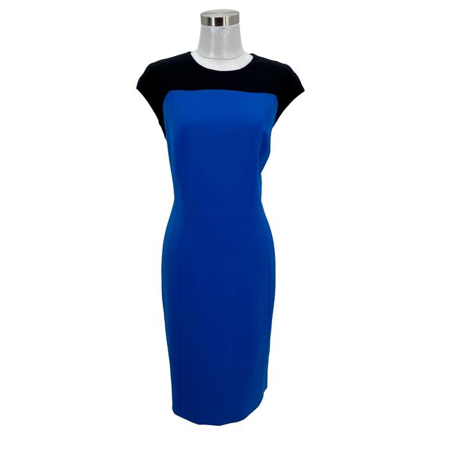 Item - Blue N1291 Designer Large Sheath Colorblock Mid-length Short Casual Dress Size 12 (L)
