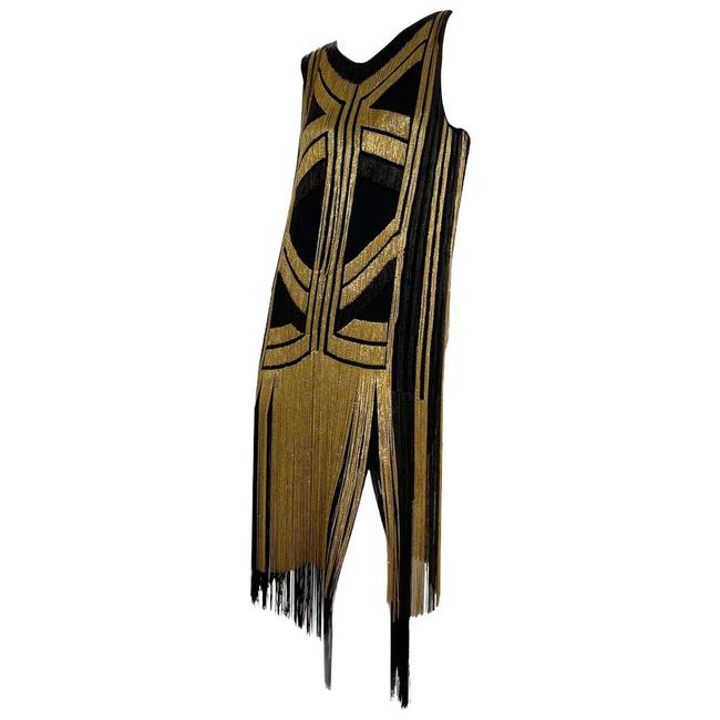 Item - Black Gold Rare Fringed Chain-embellished As Seen On Taylor Swif Long Night Out Dress Size 4 (S)