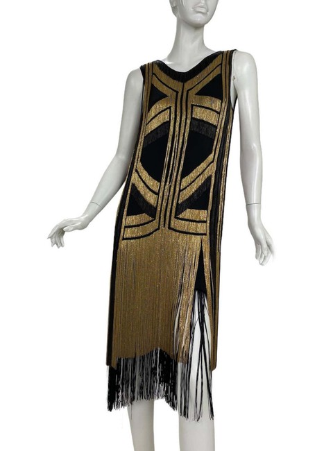 Gucci Black Gold Rare Fringed Chain-embellished As Seen On Taylor Swif Long Night Out Dress Size 4 (S) Gucci Black Gold Rare Fringed Chain-embellished As Seen On Taylor Swif Long Night Out Dress Size 4 (S) Image 2