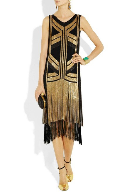 Gucci Black Gold Rare Fringed Chain-embellished As Seen On Taylor Swif Long Night Out Dress Size 4 (S) Gucci Black Gold Rare Fringed Chain-embellished As Seen On Taylor Swif Long Night Out Dress Size 4 (S) Image 6