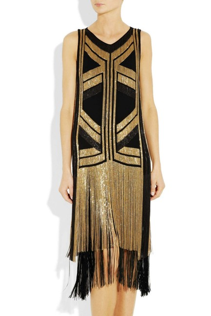 Gucci Black Gold Rare Fringed Chain-embellished As Seen On Taylor Swif Long Night Out Dress Size 4 (S) Gucci Black Gold Rare Fringed Chain-embellished As Seen On Taylor Swif Long Night Out Dress Size 4 (S) Image 7