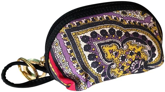 Item - Purple and Yellow Rare Vintage Paisley Coin Purse Charm Cosmetic Bag