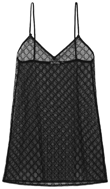 Item - Black Gg Logo Tulle Mesh and Lace Mini Lingerie Short Night Out Dress Size 8 (M)