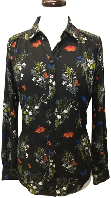 Item - Multicolor Butterfly Print Long Sleeves Blouse Size 8 (M)