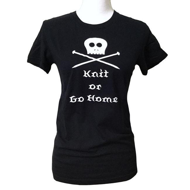Item - Black Knit Or Go Home Skull Limited Edition Tee Shirt Size 8 (M)