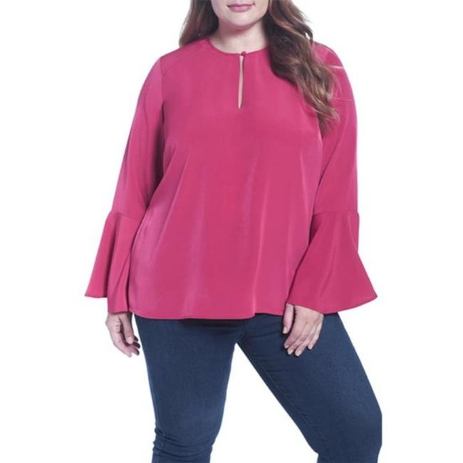 Item - Pink Red 3x New Cherries Blouse Size 24 (Plus 2x)