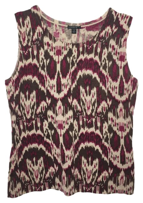 Item - Cashmere Ikat Sleeveless Shell Med Brown Sweater