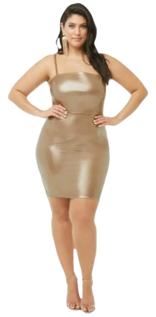 Item - Pink Gold Rose Metallic Faux Patent Leather Shift Night Out Dress Size 18 (XL, Plus 0x)