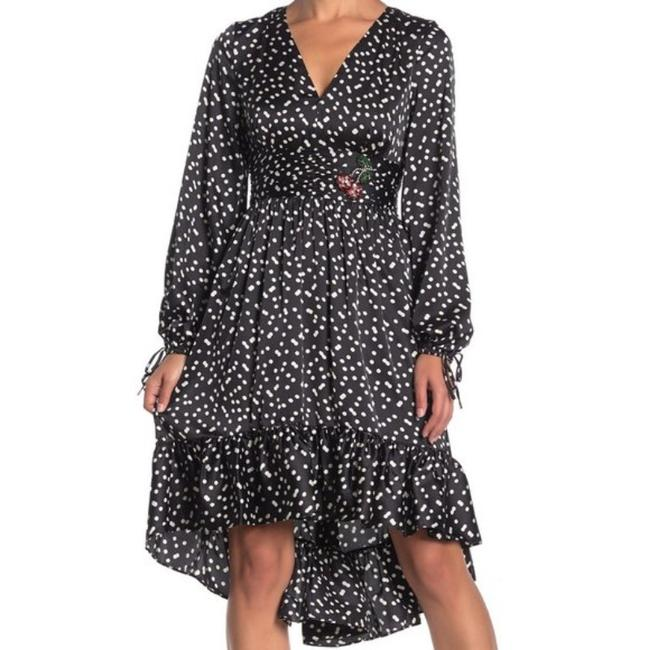 Item - Black White Punch Hole Polka Dot Mid-length Cocktail Dress Size 2 (XS)