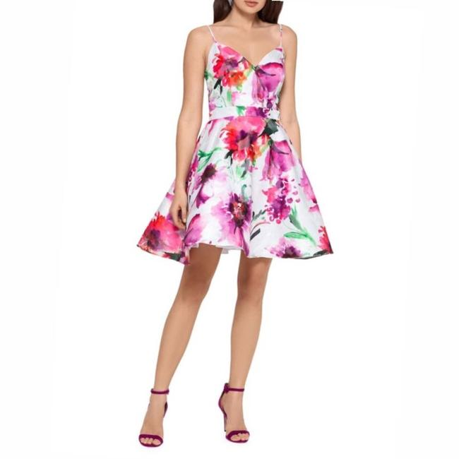 Item - Pink White Floral Fit & Flare Short Casual Dress Size 10 (M)