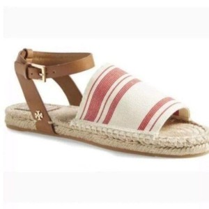Tory Burch Open Toe Canvas Espadrille Ankle Strap Red Brown Sandals