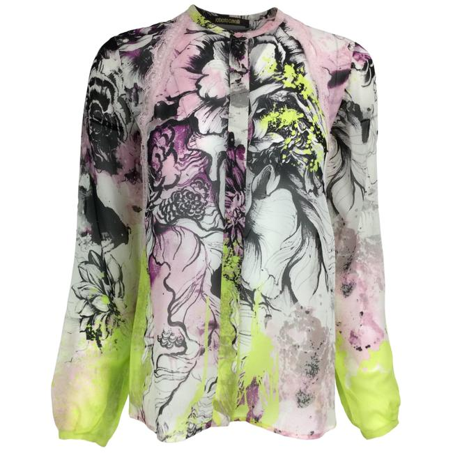 Item - Pink & Lime Green Abstract Print Silk Blouse Button-down Top Size 0 (XS)