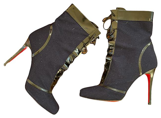 Item - Blue Sexy Lace-up Flannel Patent Leather Pleasure Boots/Booties Size EU 41 (Approx. US 11) Narrow (Aa, N)