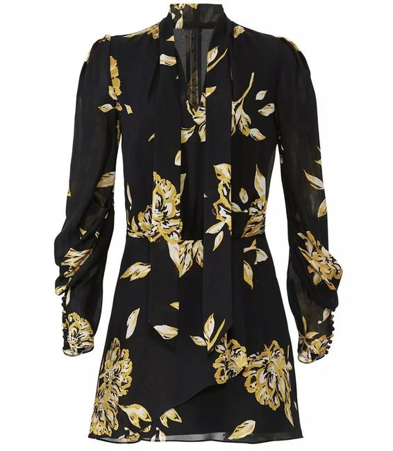Item - Black and Yellow Gyan Longsleeve Floral Knee Length Black/Yellow Mid-length Short Casual Dress Size 8 (M)