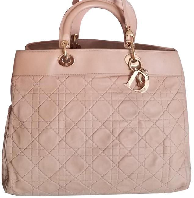 Item - Christian Cannage Large Two Way Beige Lambskin Leather Satchel