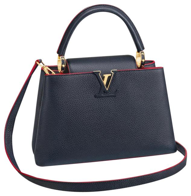 Item - Capucines Bb Marine Rouge Limited Ed Navy Taurillon Leather Cross Body Bag