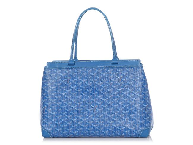 Item - Bellechasse Pm Blue Coated Canvas Tote