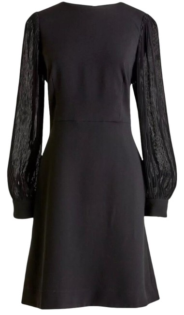 Item - Black Pleated Sleeve Aline Best Seller Poly Lined Knee Length Mid-length Cocktail Dress Size 8 (M)