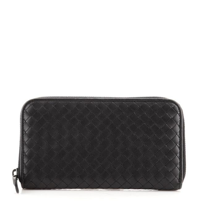 Item - Black Zip Around Intrecciato Nappa Long Wallet
