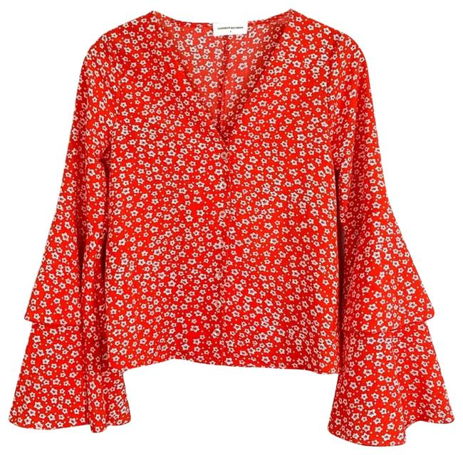 Item - Red Floral Button Cropped Blouse Size 4 (S)