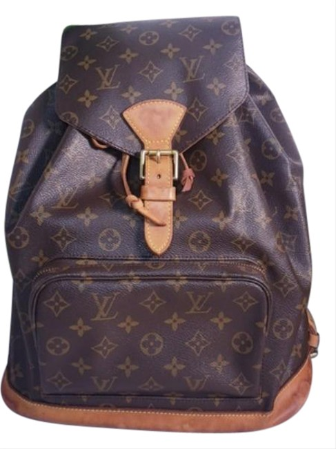 Item - Montsouris Lv Gm Large Canvas Unisex Brown Tan Monogram Motard Patent Leather Backpack