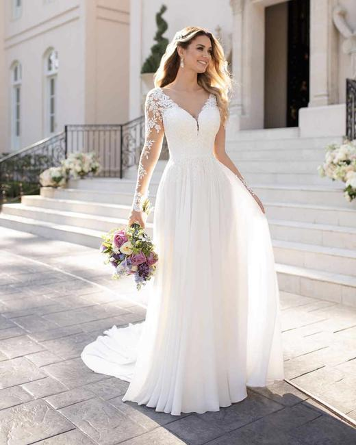 Item - Ivory/Porcelain Tulle Polyester 6843 Casual Wedding Dress Size 4 (S)