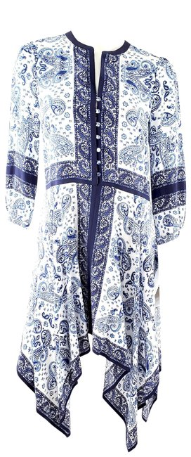 Item - Blue and White Silk Paisley 3/4 Sleeve High Low Mid-length Casual Maxi Dress Size 4 (S)