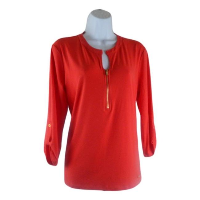 Item - Coral Front Zipper Blouse Size 12 (L)