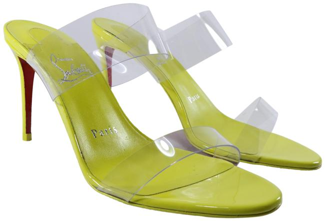 Item - Yellow Just Nothing Citrus Pvc Clear 85 Strap Patent Mules Heels D362 Sandals Size EU 36.5 (Approx. US 6.5) Regular (M, B)