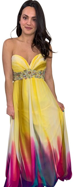 Item - Yellow Strapless Beaded Gown Long Formal Dress Size 2 (XS)