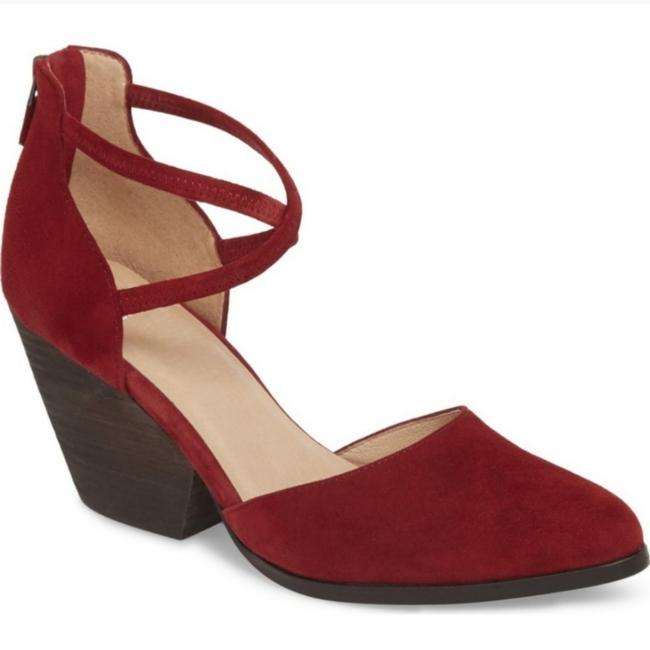 Item - Burgundy Suede Tilda Stacked Pumps Size US 9 Regular (M, B)