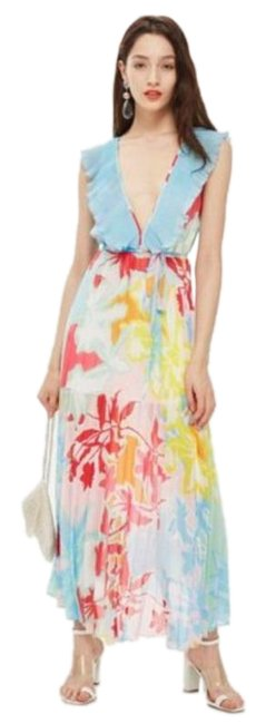 Item - Red Blue Paradise Floral Plunge Pleated Long Casual Maxi Dress Size 6 (S)