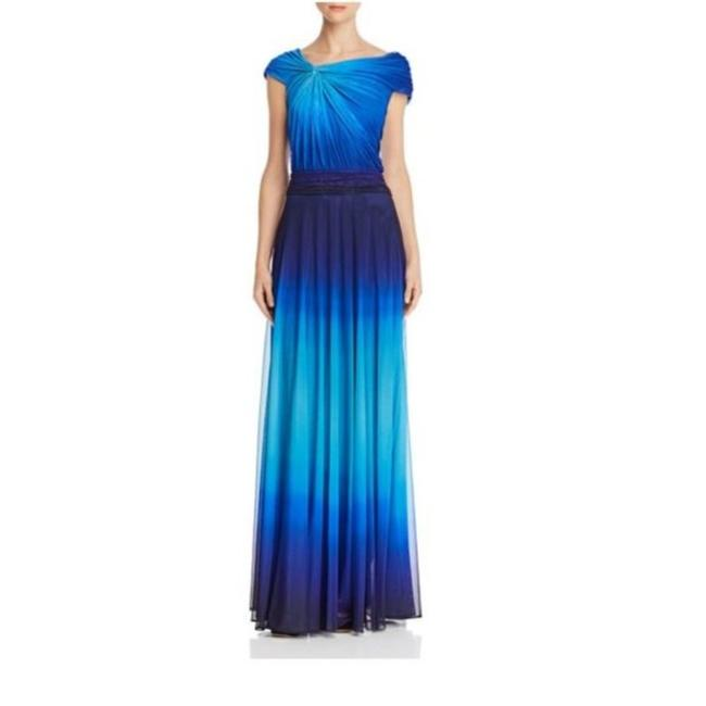 Item - Blue Jersey Ombre Pavo Maxi Long Formal Dress Size 4 (S)