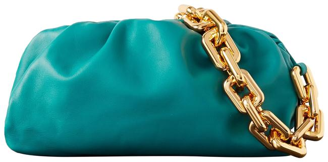 Item - Chain Pouch Gathered Teal Leather Clutch