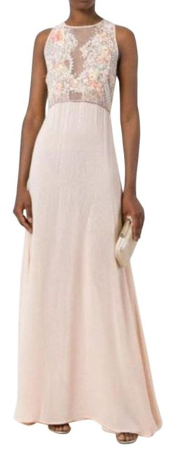 Item - Peach Sheer with Beaded Embroidered Bodice Long Formal Dress Size 8 (M)