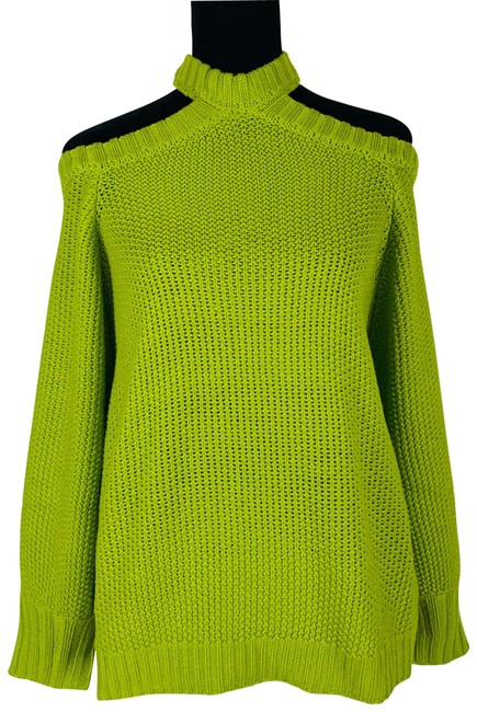 Item - Cold Shoulder Balloon Sleeve Lime Size Green Sweater