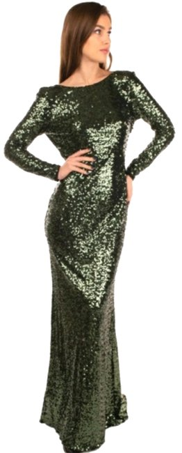 Item - Green Scarlet Sequined Draped Open Back Beaded Long Formal Dress Size 4 (S)