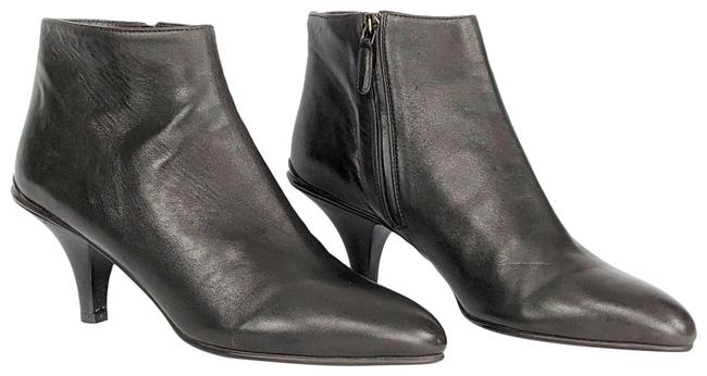Item - Dark Brown Leather Pointed Toe Kitten Heel Ankle Boots/Booties Size US 9 Regular (M, B)
