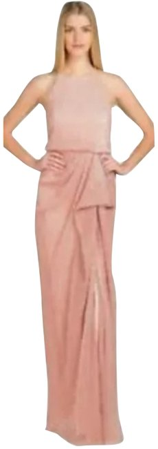 Item - Pink Dazzle Shimmer Drape Pleat Allover Sequin Beaded Long Formal Dress Size 0 (XS)