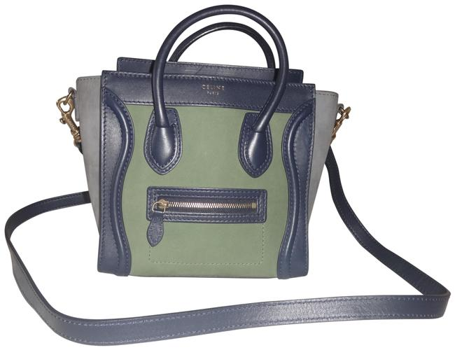 Item - Luggage Tote Navy/Green/Gray Leather/Suede Cross Body Bag