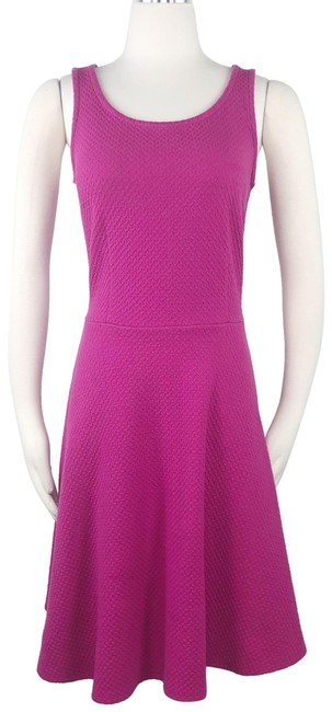 Item - Pink Fit & Flare Sleeveless Hot Jacquard Knit Scoop Neck Textured Short Casual Dress Size 4 (S)