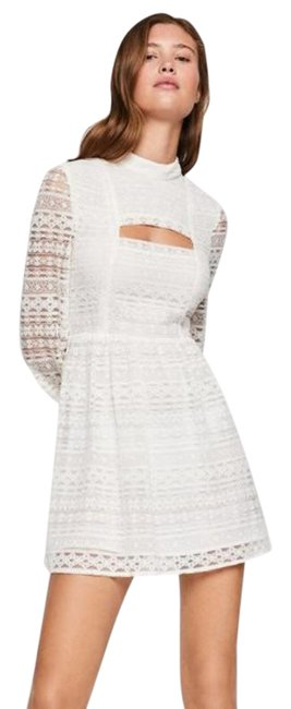 Item - White Lace Peak A Boo Mini In Ivory Short Cocktail Dress Size 12 (L)