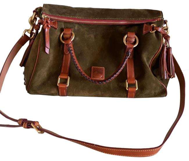 Item - Barley Used Designed Flawless Brown and Army Green Suede Leather Satchel