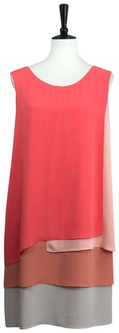 Item - Pink / Gray Haley Tank Colorblock Tiered Short Night Out Dress Size 14 (L)