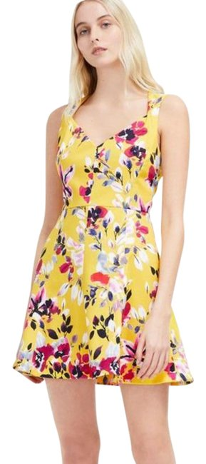 Item - Yellow Pink Floral Print Cotton Short Casual Dress Size 10 (M)