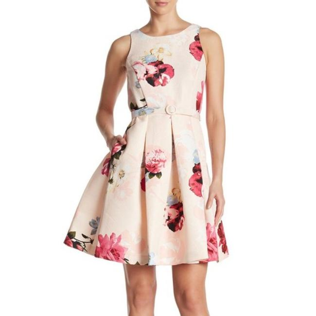 Item - Pink Green Floral Jacquard Pleated Short Cocktail Dress Size 10 (M)