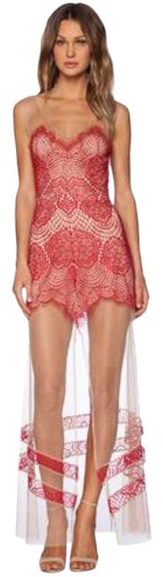 Item - Red Beige Antigua Lace Long Casual Maxi Dress Size 12 (L)