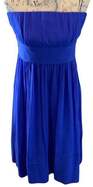 Item - Blue Strapless Silk Party Cocktail Dress Size 12 (L)